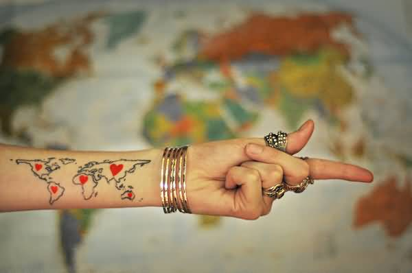 25 incredible map tattoo ideas women lower sleeve cool red heart nice world map tattoo gumiabroncs Choice Image